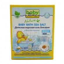 Babyline Nature Детская морская соль для ванн с ромашкой в фильтр-пакетах, 500 г