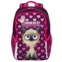 Grizzly, Школьный рюкзак для девочки, фиолетовый кошка-сердечки, RG-969-1