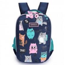 Grizzly,Школьный рюкзак для девочки, синий, забавные коты, RG-969-2