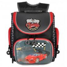 Grizzly, Школьный рюкзак для мальчика, черный-серый, гонки, RA-970-4