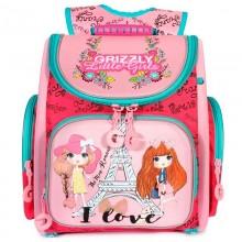 Grizzly, Школьный рюкзак для девочки, жимолость-розовый, Париж, RA-971-2
