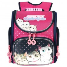 Grizzly, Школьный рюкзак для девочки, темно-синий, кошки, RA-971-4