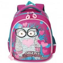 Grizzly, Школьный рюкзак для девочки, фуксия, Сова в очках, RA-979-2