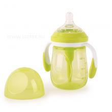 Бутылочка для кормления с ручками Happy Baby антиколиковая с силиконовой соской, 180 мл.