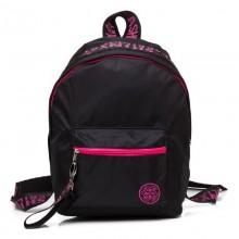Hatber Рюкзак Fashion полиэстер, 1 отделение, 1 карман, Черный с розовым, 33х25х16 см