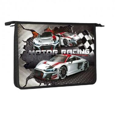 Hatber Папка для тетрадей пластиковая, 1 отделение на молнии, А4, Motor Racing