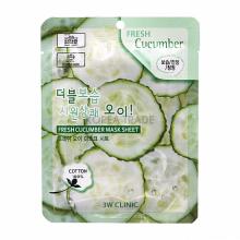 3W Clinic Тканевая маска с экстрактом огурца Fresh Cucumber Mask Sheet, 1 шт