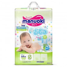 Подгузники Manuoki размер S (3-6 кг) 64 шт
